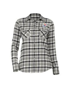 Pittsburgh Steelers Women's Antigua Ease Plaid Flannel Long Sleeve Button Down Top