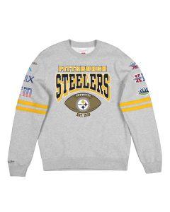 Pittsburgh Steelers Mitchell & Ness 6X Champion Fleece Crew