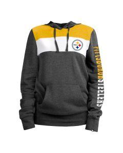 Pittsburgh Steelers Women's New Era Colorblock Pullover Fleece Hoodie