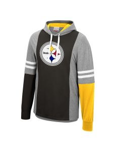 Pittsburgh Steelers Mitchell & Ness Colorblock Hooded Long Sleeve T-Shirt