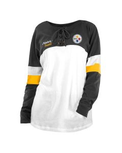 Pittsburgh Steelers Women's New Era Athletic Varsity Lace Up Long Sleeve T-Shirt