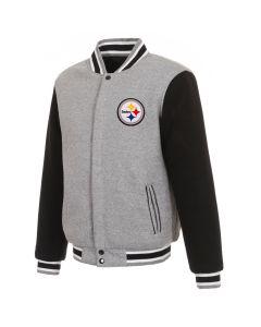 Pittsburgh Steelers Men's Grey Reversible Mediumweight Fleece Jacket