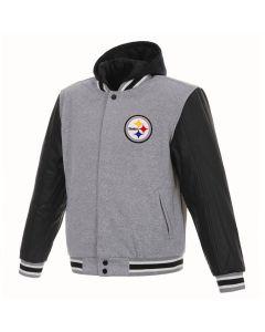 Pittsburgh Steelers Men's Reversible Mediumweight Fleece Hooded Jacket