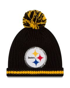 Pittsburgh Steelers New Era Women's Sequin Frost Cuff Knit Hat