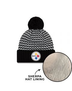 Pittsburgh Steelers New Era Patterned Pom Knit Hat