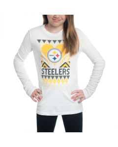 Pittsburgh Steelers Girls Candy Cane Love Long Sleeve T-Shirt