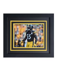 Pittsburgh Steelers #55 Devin Bush EXCLUSIVE Home Game Signed Framed 8x10 Photo