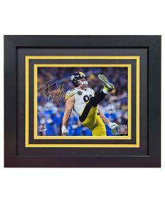 Pittsburgh Steelers #90 T.J. Watt Signed Framed Celebration 8x10 Photo