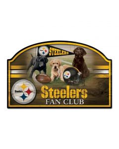 Pittsburgh Steelers Dogs Fan Club Wood Sign