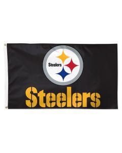 Pittsburgh Steelers Black Logo and Wordmark 3'x5' Flag