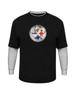 Pittsburgh Steelers 2-Fer Hangdown Long Sleeve T-Shirt - Extended Sizing
