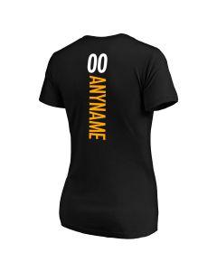 Pittsburgh Steelers Women's Primary Logo Custom Short Sleeve V-Neck T-Shirt