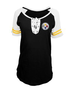 Pittsburgh Steelers Women's New Era Lace Up Raglan Short Sleeve T-Shirt
