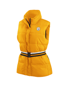 Pittsburgh Steelers Women's Gold Puffer Vest with Elastic Belt