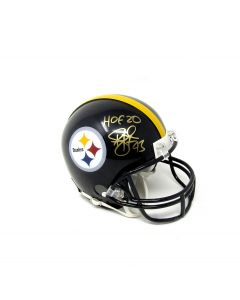 Pittsburgh Steelers #43 Troy Polamalu Autographed Riddell Mini Helmet with Inscription