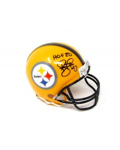 Pittsburgh Steelers #43 Troy Polamalu Autographed Riddell Mini Throwback Helmet with Inscription