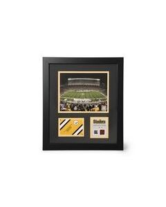 Pittsburgh Steelers Heinz Field Night Framed Photo with a piece of Game-Used Football