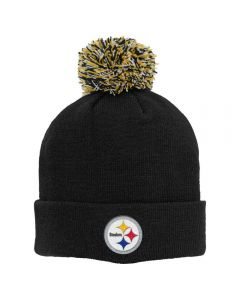Pittsburgh Steelers Youth Basic Cuffed Black Knit Pom Hat