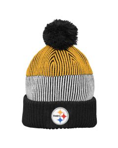 Pittsburgh Steelers Youth Legacy Team Stripe w/ Pom Knit Hat