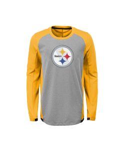 Pittsburgh Steelers Boys' Main Frame Long Sleeve Performance T-Shirt