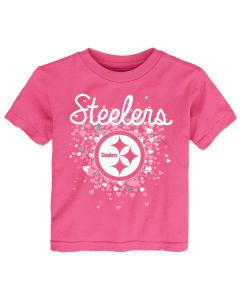 Pittsburgh Steelers TODDLER Girls Pouring Hearts Short Sleeve T-Shirt