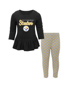 Pittsburgh Steelers Little Girls Tiny Trainer Long Sleeve Set