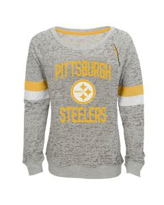 Pittsburgh Steelers Girl's Boat Neck Long Sleeve Pullover