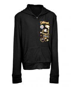 Pittsburgh Steelers Girl's New Era Full Zip Sweater Hood