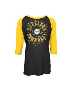 Pittsburgh Steelers Girls' Exclusive Confetti 3/4 Scoop T-Shirt