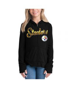 Pittsburgh Steelers Girls' Full Zip Knit Sweater