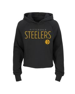 Pittsburgh Steelers Girls' D-Line Iced Out Cropped Hoodie
