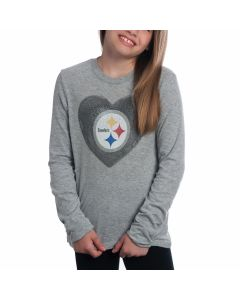 Pittsburgh Steelers Girls Watercolor Long Sleeve T-Shirt