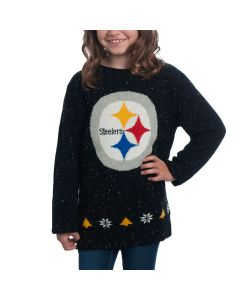 Pittsburgh Steelers Girls Knit Team Holiday Fleck Sweater