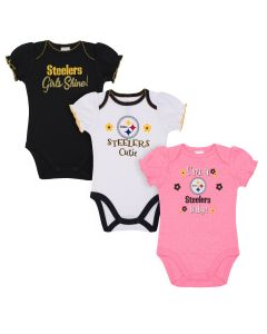 Pittsburgh Steelers Infant Girls' 3 Pack Bodysuits
