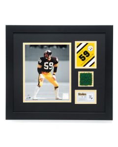Pittsburgh Steelers #59 Jack Ham Framed Photo with a piece of Three Rivers Stadium Turf