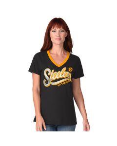 Pittsburgh Steelers Women's On the Ball Foil V-Neck Short Sleeve T-Shirt