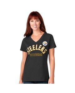 Pittsburgh Steelers Women's Backfield V-Neck Short Sleeve T-Shirt