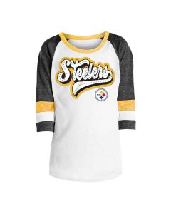 Pittsburgh Steelers Girls' Tri-Blend Jersey 3/4 Sleeve Black T-Shirt