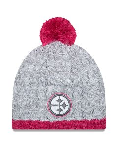Pittsburgh Steelers New Era Women's Breast Cancer Awareness Cable Knit Cap
