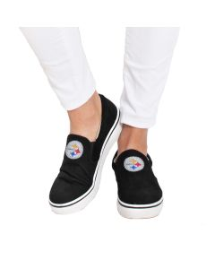 Pittsburgh Steelers Cuce Women's Crystal Logo Suede Slide Sneaker