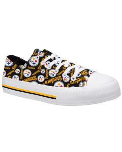 Pittsburgh Steelers Women's Low Top Repeat Print Canvas Shoe