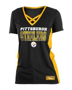 Pittsburgh Steelers Women's New Era Mesh Crossneck Sequin Short Sleeve T-Shirt