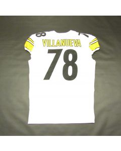 Pittsburgh Steelers #78 Alejandro Villanueva Game Used Away Uniform Set