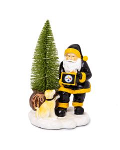 Pittsburgh Steelers Santa with Dog Figurine