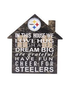 Pittsburgh Steelers House Shape Wood Sign