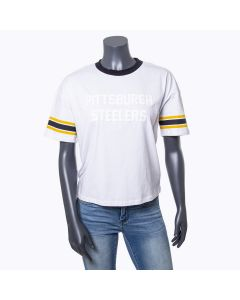 Pittsburgh Steelers Women's Cropped Ringger Short Sleeve T-Shirt