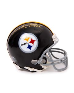 Pittsburgh Steelers #12 Terry Bradshaw Autographed Riddell Mini Throwback Helmet with Inscription