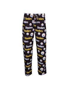 Pittsburgh Steelers Men's Exclusive Fairway Knit AOP Black Sleep Pant