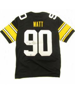 Pittsburgh Steelers #90 T.J. Watt Autographed Nike Limited Home Throwback Jersey