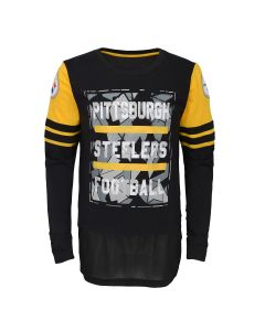 Pittsburgh Steelers Boys' D-Line All or Nothing Long Sleeve T-Shirt